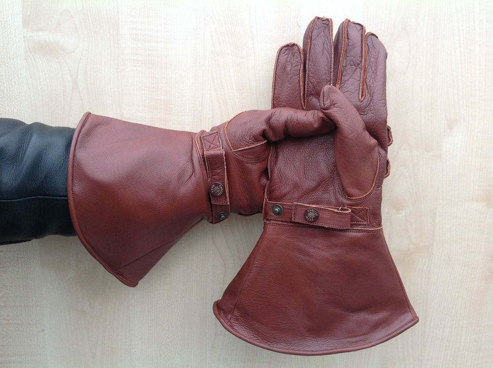 Vintage Motorcycle Gloves With Red Fleece Lining Leather Gauntlets New Goldtop Red Jacket Leather Leather Jacket Men Jackets Men Fashion