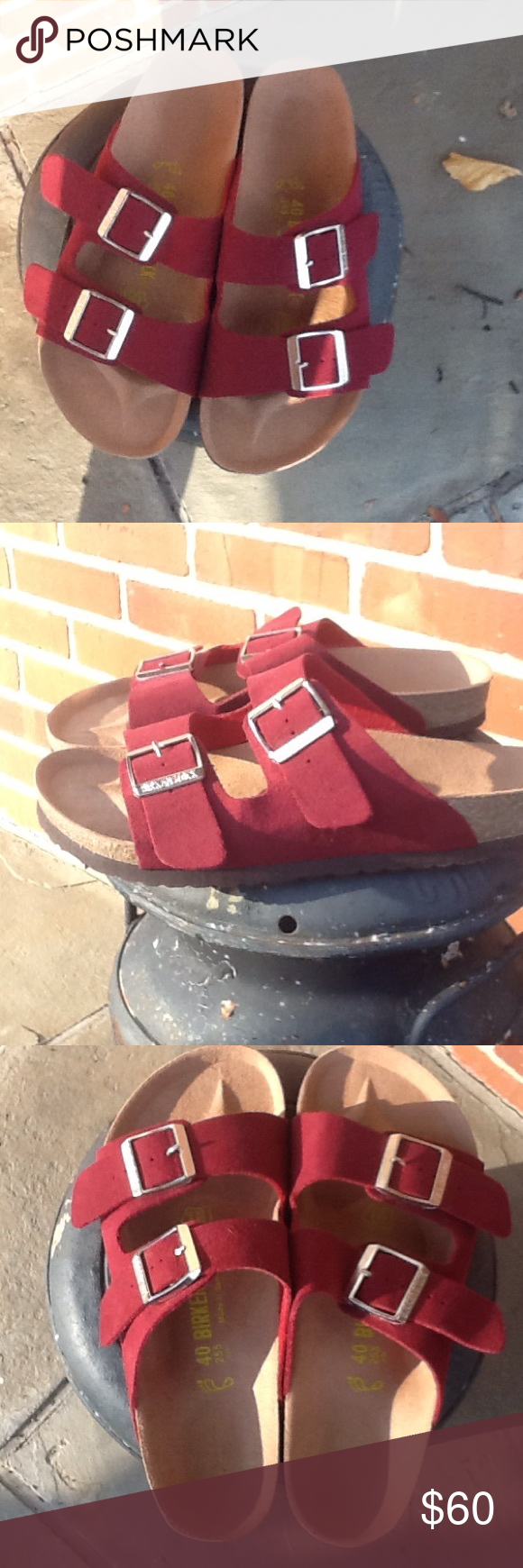 NWOT tag Berkinstocks Burgundy suede Never worn size 40 Birkenstock sandals Birkenstock Shoes Sandals