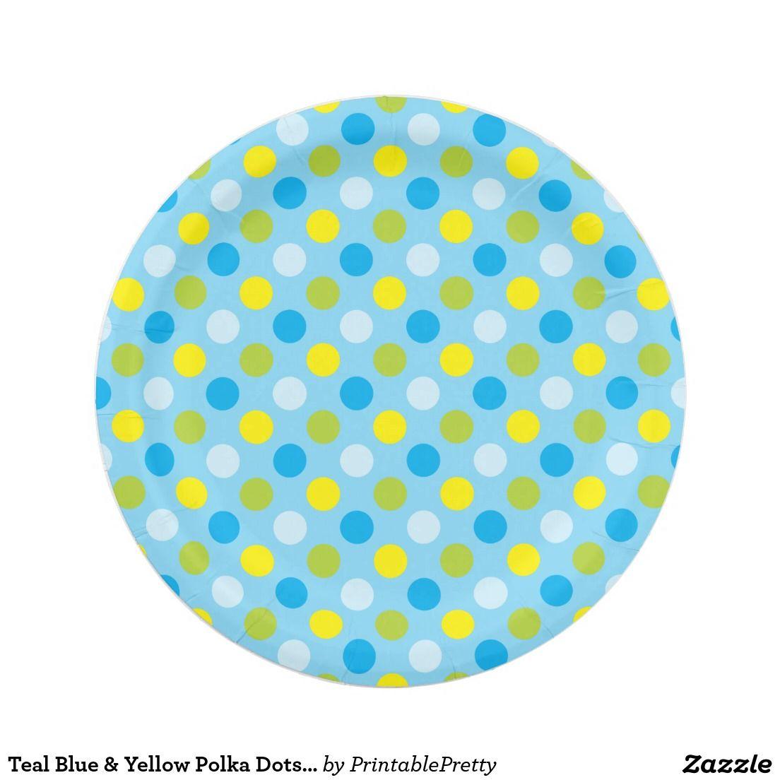 Teal Blue \u0026 Yellow Polka Dots | Paper Plates  sc 1 st  Pinterest & Teal Blue \u0026 Yellow Polka Dots | Paper Plates | Custom Party PAPER ...