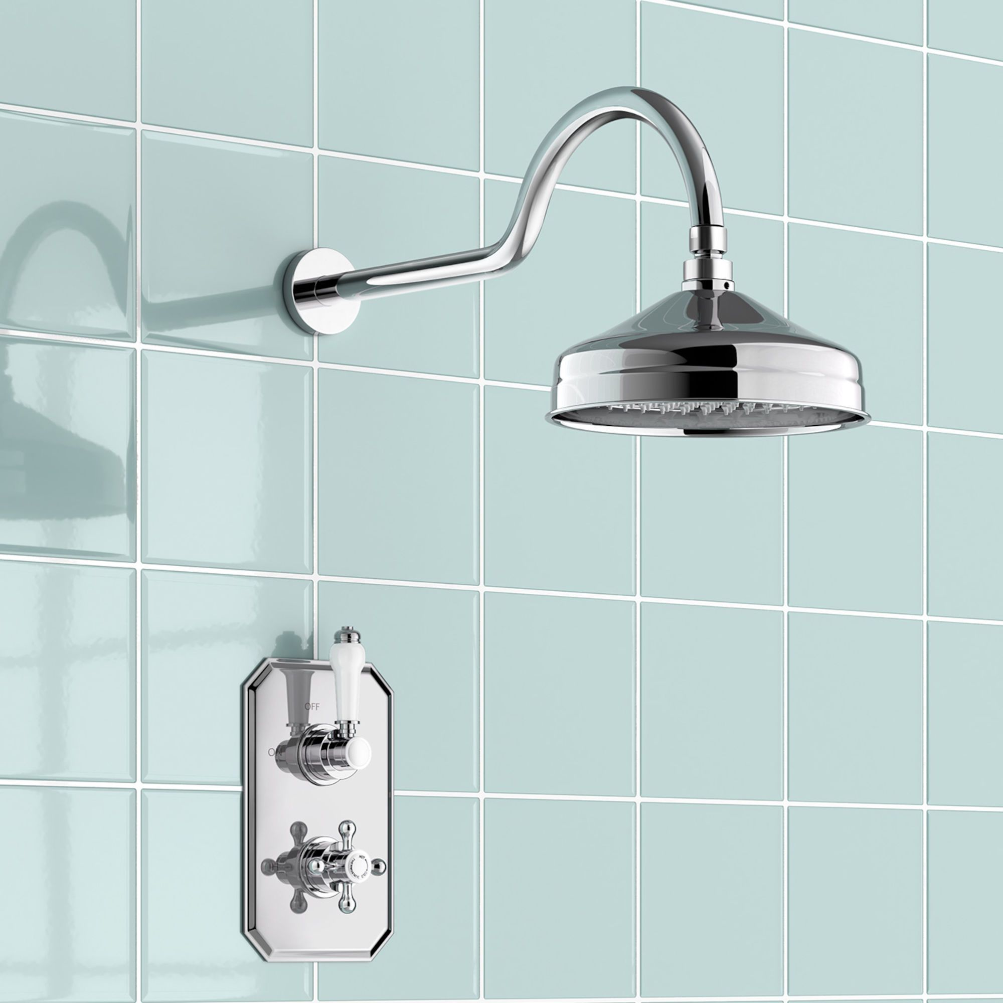Traditional Concealed Thermostatic Shower & Medium Head | Mixer ...