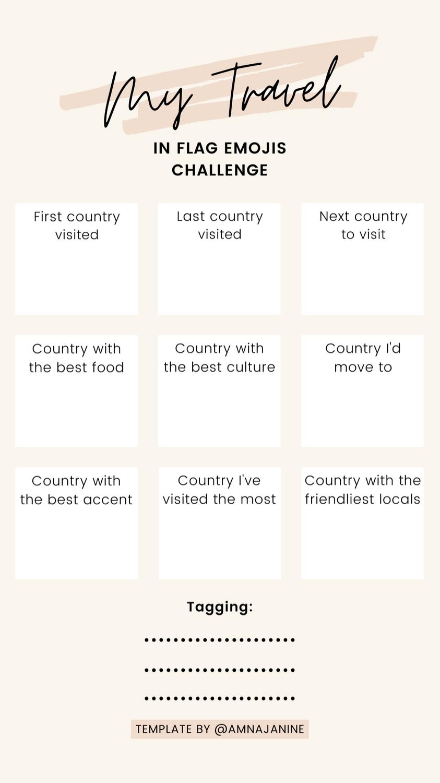 Instagram Story Template My Travel In Flag Emojis Challenge By Amnajanine Emoji Challenge Instagram Emoji Instagram Story Template
