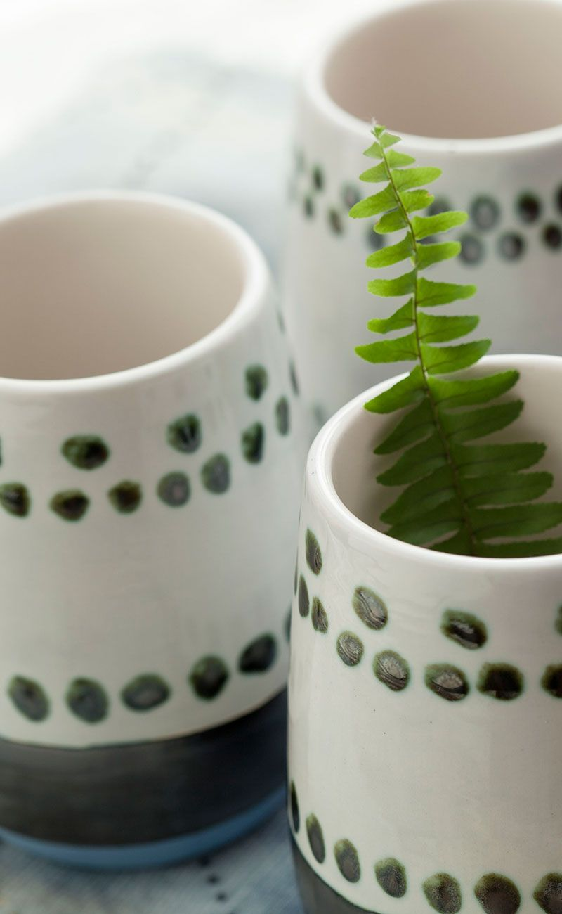 Nordic Inspiration | Stemless ceramic beverage mugs, hand painted by artists at Envision Unlimited.
