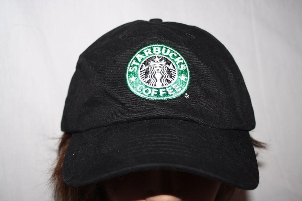 STARBUCKS COFFEE black employee ball cap hat embroidered logo adjustable   Starbucks e306a63f1d3c