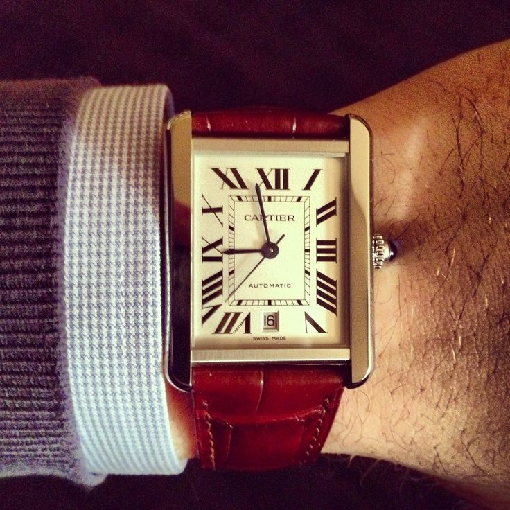 My new watch, Cartier tank Solo XL watches, leather