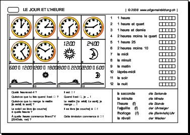 franz246sisch arbeitsblatt jour et heure 5000 220bungen