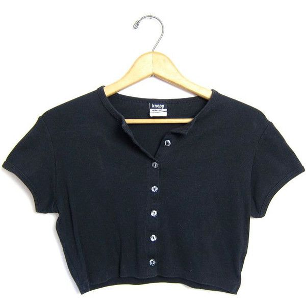 Cropped Black TShirt 90s Short Sleeve Shirt Grunge Button Front Top... (2665 DZD) ❤ liked on Polyvore featuring tops, t-shirts, crop tops, shirts, vintage tee-shirt, crop tee, tee-shirt, short sleeve t shirt and crop t shirt