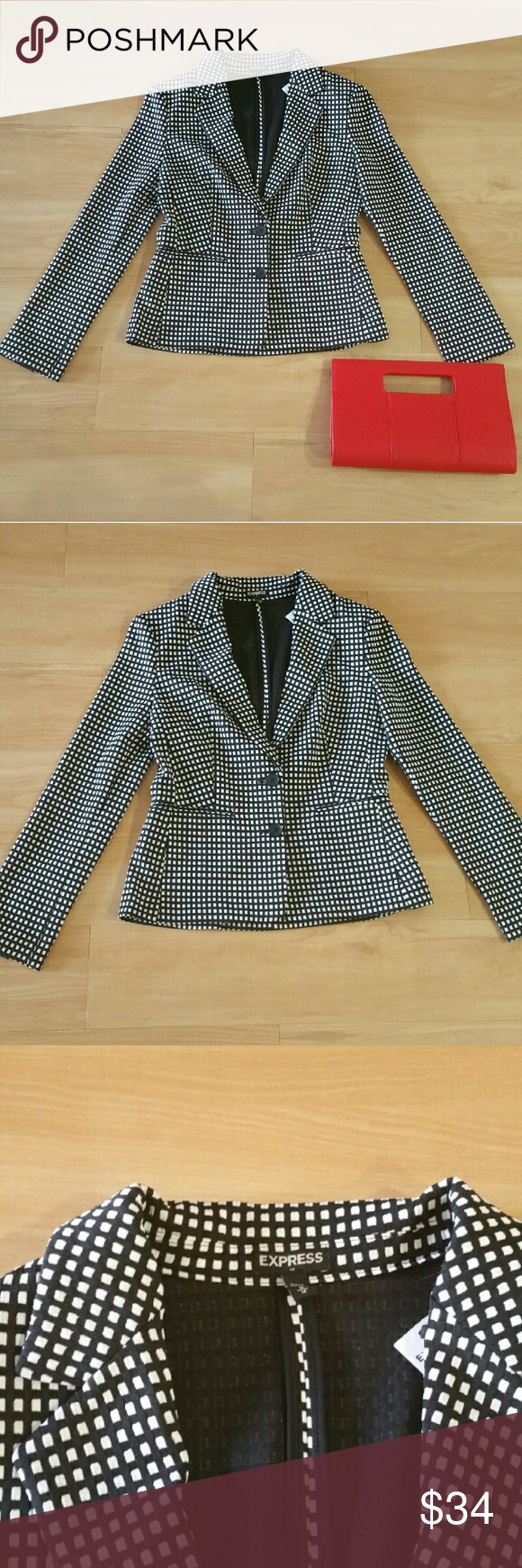 EXPRESS Women's Blazer B/W Print  Suit Jacket V-neckline Pullover styling Ruffled accent around collar, end of sleeves, and mid section Short sleeves Allover multi-color print pattern Hits right below waistline In excellent condition with no stains or tears noted! Gently worn Please note: Only item described in listing included. Other items appearing in picture for decorative purpose only From a pet & smoke free home! Express Jackets & Coats Blazers