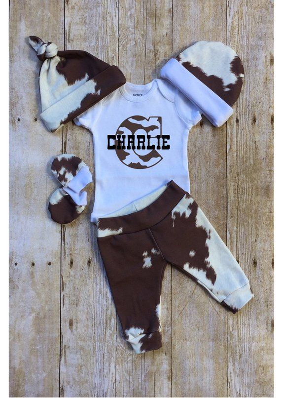 Photo of Country Boy Personalized Coming Home Outfit,Cow Hide Country Baby Boy Outfit, Ne…
