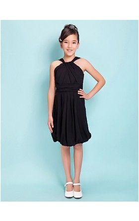 Sheath/Column Straps Knee-length Chiffon Junior Bridesmaid Dress ...