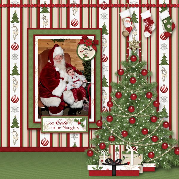 Too Cute To Be Naughty scrapbooking layout using Naughty Or Nice Collection
