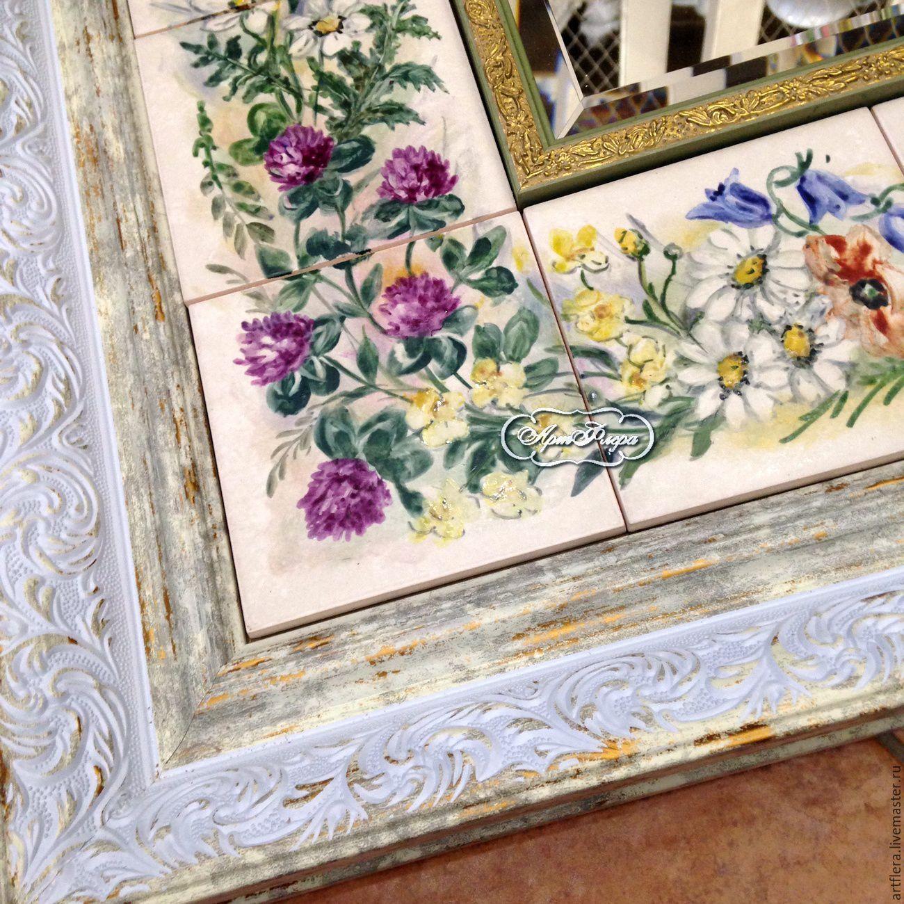 Роспись зеркала Роспись плитки Луговые цветы | Роспись ...