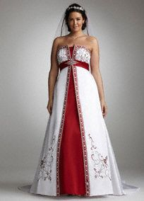Stunning And Vibrant Satin A Line Gown With Split Front Color Inset Is A True Masterpiece Split Fr Red Wedding Dresses Wedding Dresses Plus Size Bridal Gowns