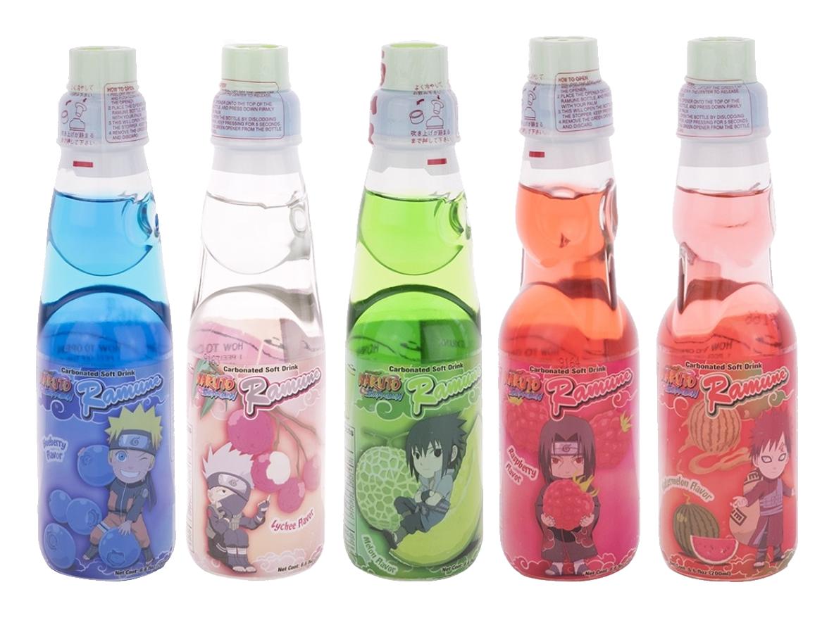 Naruto Ramune 5 Pack Variety Japanese Soda Marble Soft Drink 5 Flavors Ebay Japanese Drinks Naruto Soft Drinks