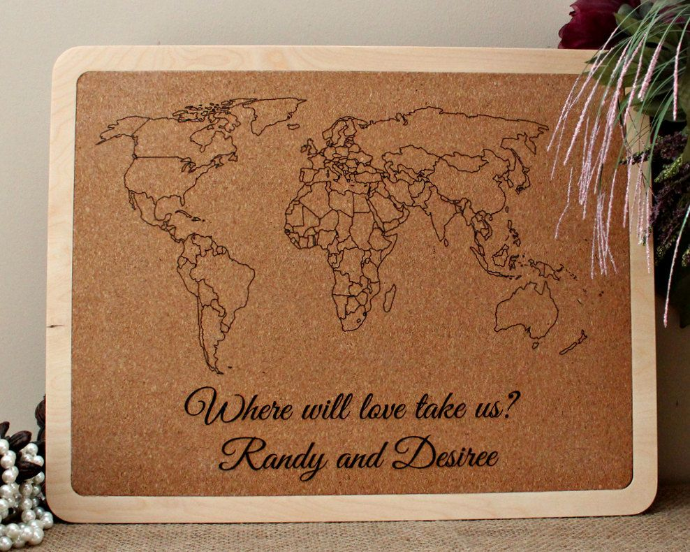 Personalized Travel Map Anniversary Gift Push Pin Cork Board Map