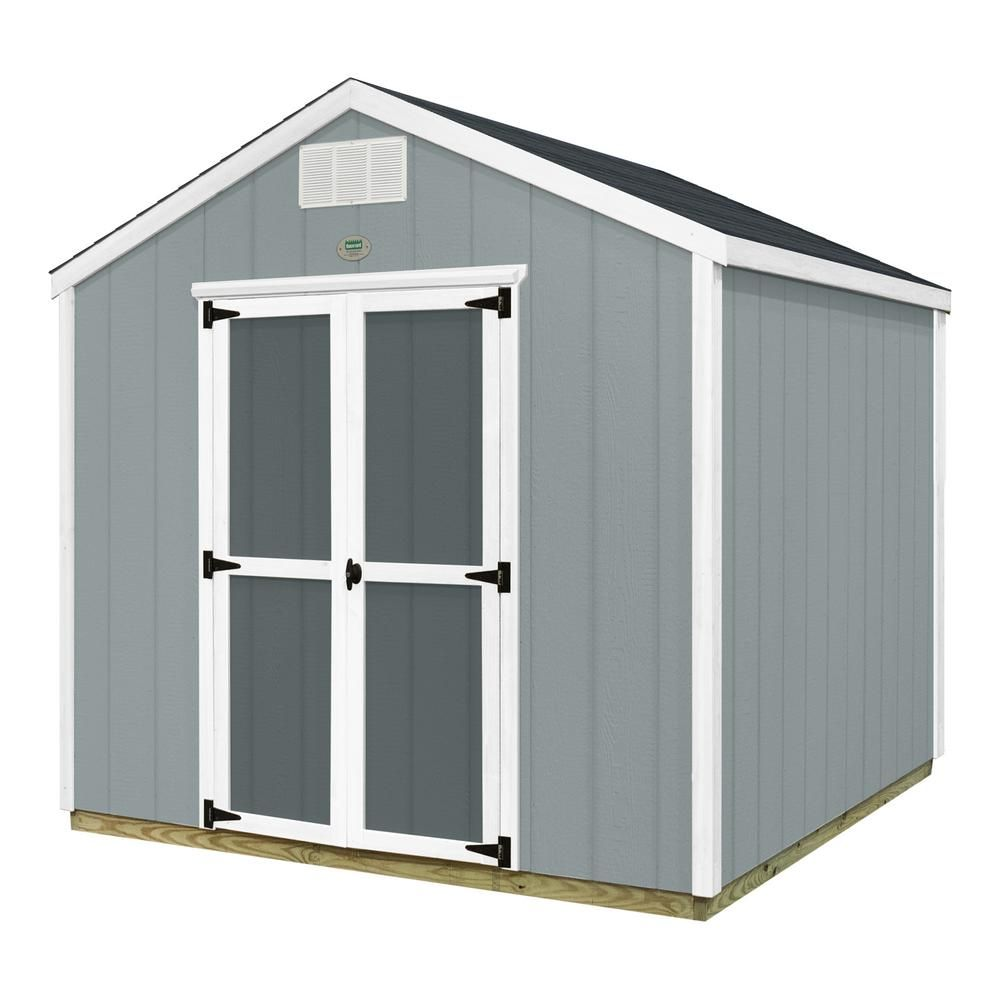 Backyard Discovery Prefab Wooden Storage Shed With Floor Decking, Shingles  And All Hardware Included, Grays