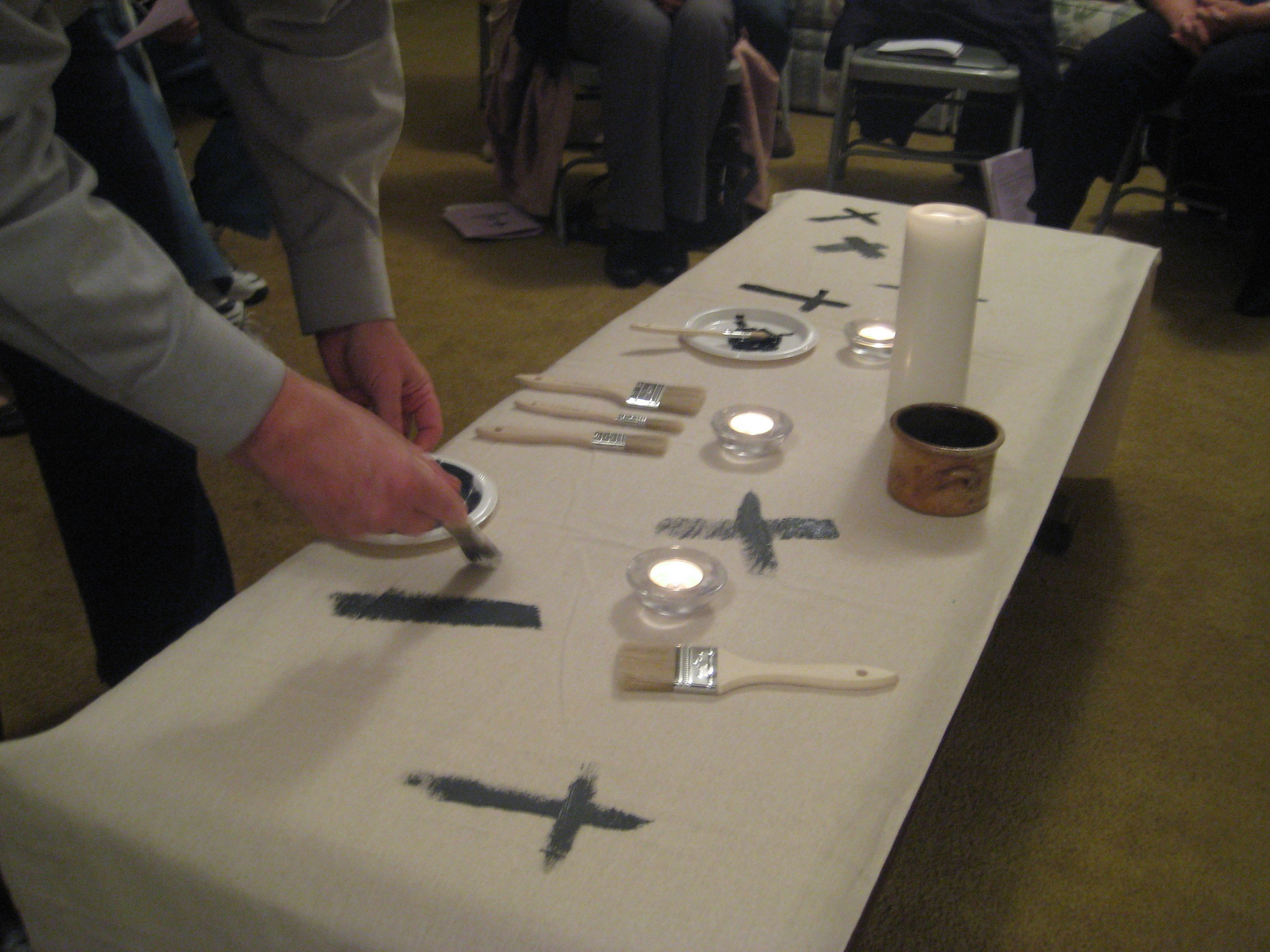 During Ash Wednesday Worship We Invited People To Paint A Cross On The Tablecloth And Placed It