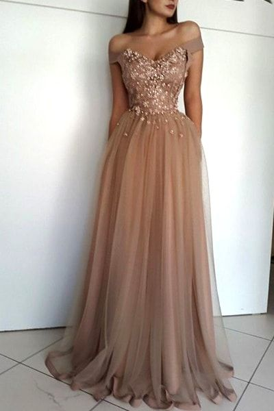 Off-The-Shoulder-Nude-Prom-Dress  Gowns  Vestidos Dd -9697