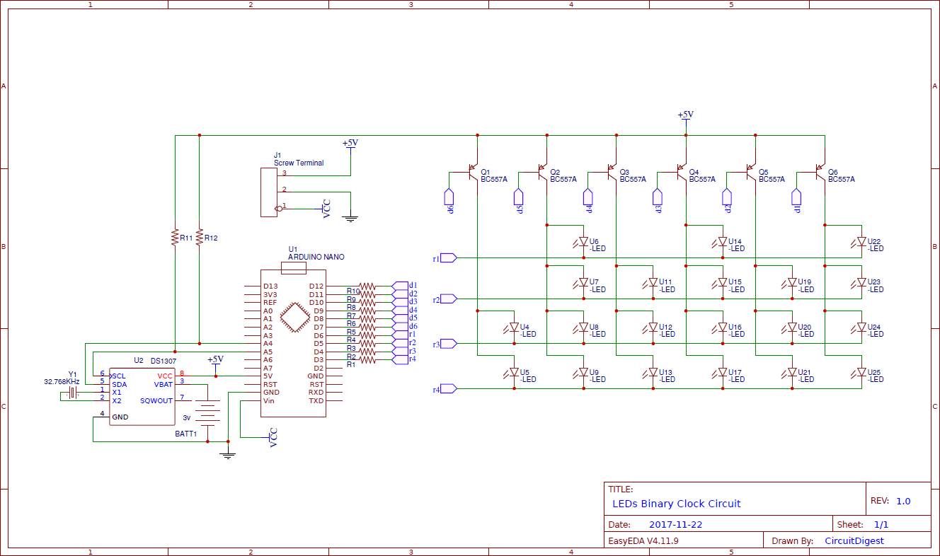 Led Binary Clock Circuit Using Arduino Clock Circuit Diagram Binary