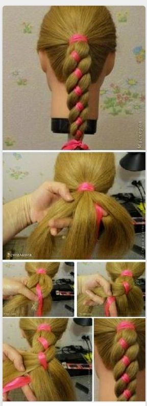 Four Strand Ribbon Braid Ponytail Braided Headband Hairstyle Hair Styles Ribbon Braids