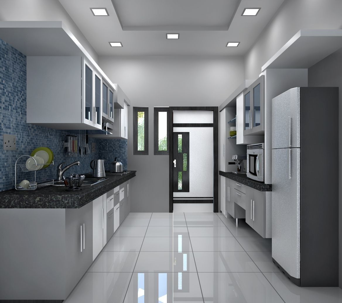 The kitchen with monochrome color appearance . Two side ...