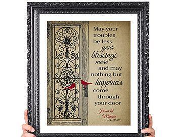 Happiness irish blessing 50th wedding anniversary gift 1st