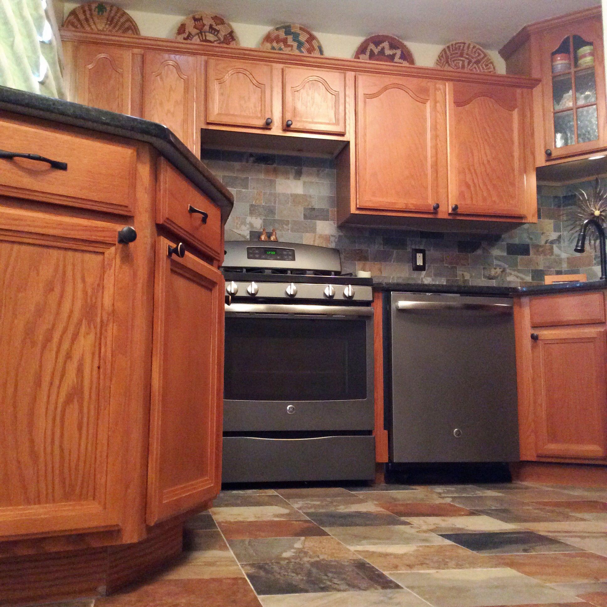Slate Kitchen Appliances Quartz Porcelain Tile With Ge