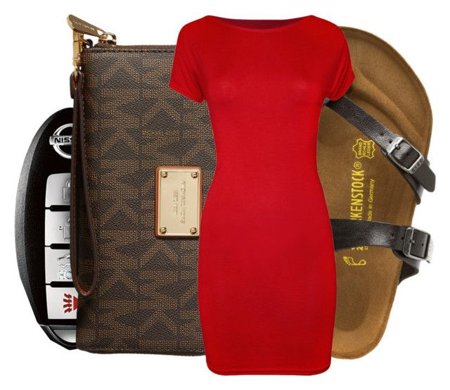 """""""Summer nights with tshirt dress ..."""" by beautyuniqueblossoms ❤ liked on Polyvore featuring MICHAEL Michael Kors, Birkenstock, WearAll and ItsAMust"""