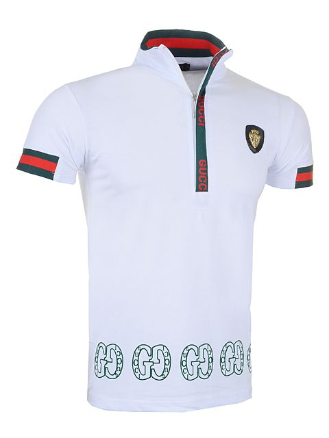 Gucci Men Lapel Polo Shirt with Zipper in White Top Selling  4fd30f29466da