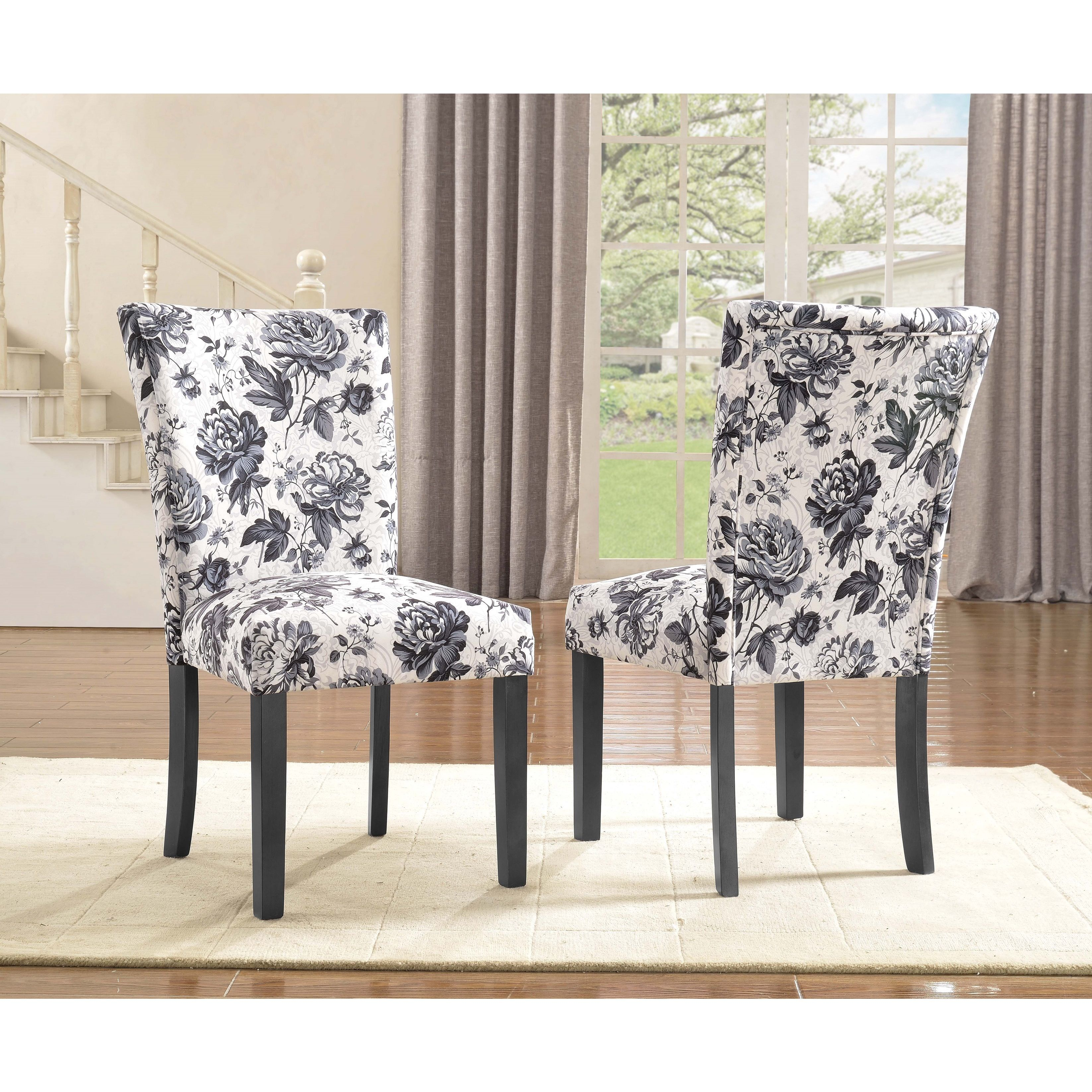 Black And White Dining Room Chairs: The Beautiful Fabric Upholstery And Black Finish On The