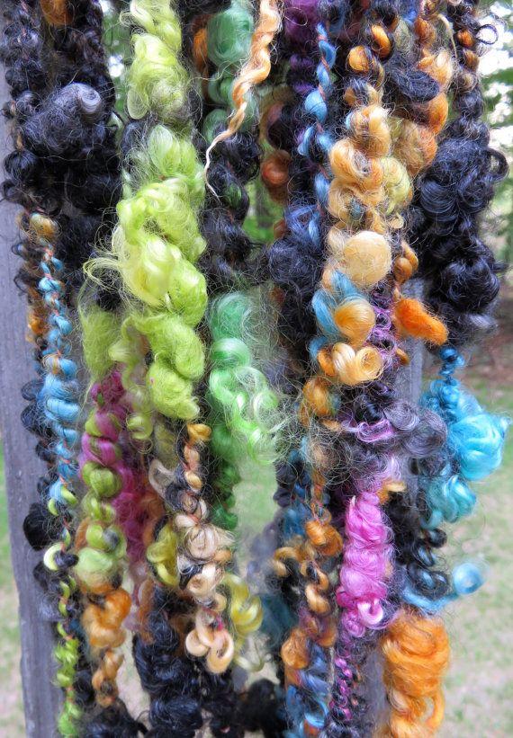 Handspun Yarn Art Yarn Bulky Lockspun Tailspun by RainbowTwistShop