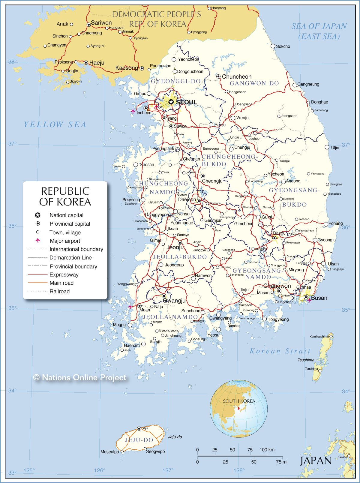 Map of South Korea with cities and towns Shaydynns South Korea