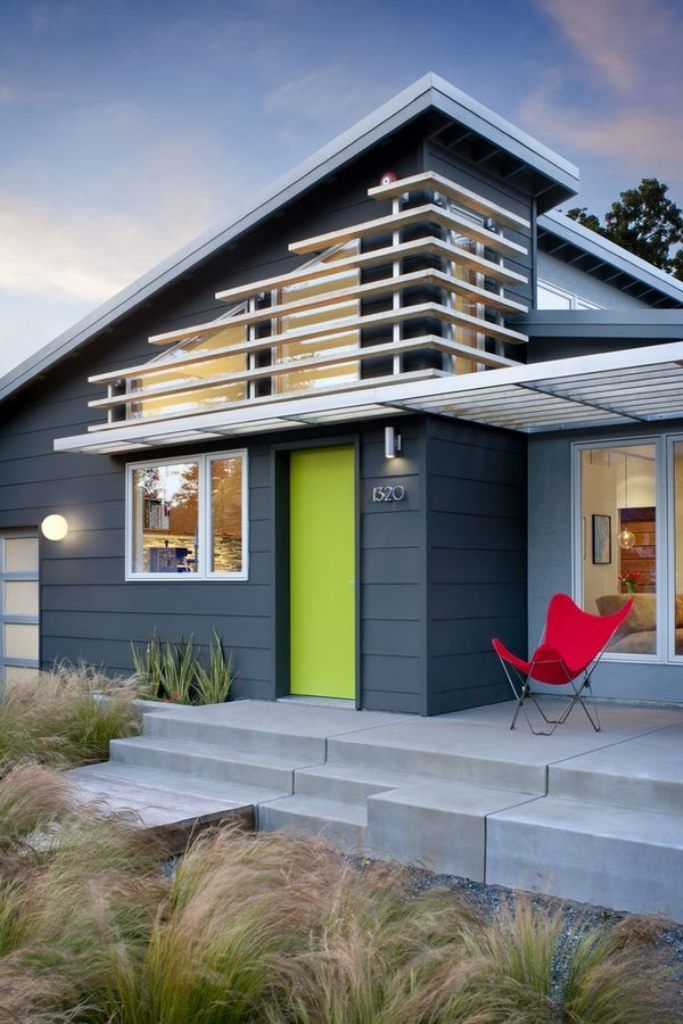 Modern Architecture Color dark grey exterior color with lime green door for modern