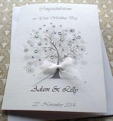 Large Luxury Winter Wedding Anniversary Card Handmade Personalised Crystal Tree Hand Anniversary Cards Handmade Wedding Anniversary Cards Anniversary Cards