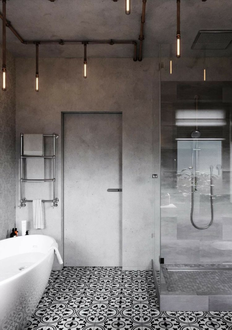 badezimmer badewanne betonwand musterfliesen lampen industrial design interior design rustic. Black Bedroom Furniture Sets. Home Design Ideas