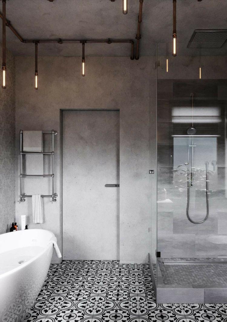 Badezimmer Badewanne Betonwand Musterfliesen Lampen Industrial Design Industrial Style Bathroom Industrial Interior Design Industrial Bathroom Decor