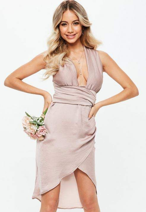 602151dce99 Bridesmaid Pink Satin Multiway Midi Dress