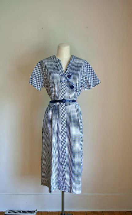 vintage 40s day dress  HOUNDSTOOTH cotton frock
