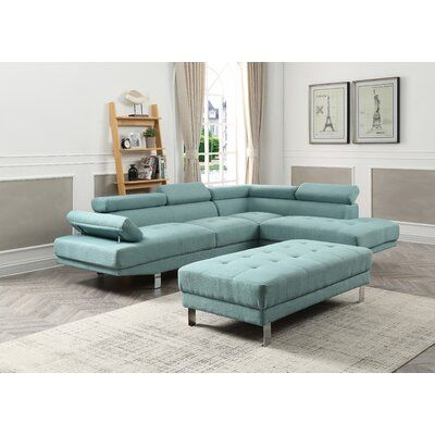 Wade Logan Verena Right Hand Facing Sectional Upholstery Material: Twill, Upholstery Color: Teal images
