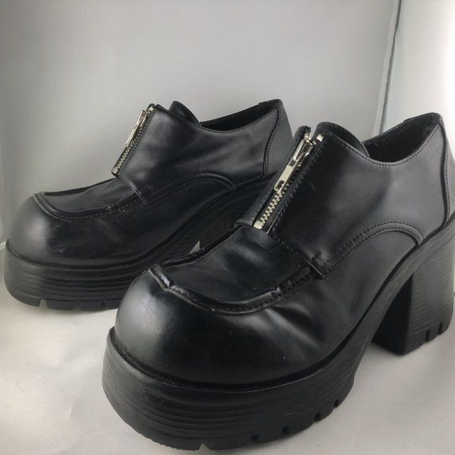 4d219b4b4df omg😳 90s vegan Soda black chunky as frick platform shoes w - Depop