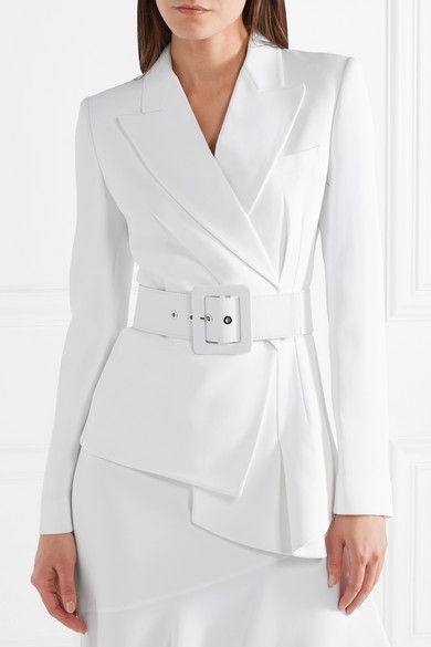 Michael Kors Belted Asymmetric Crepe Blazer - White | Michael kors  collection, Crepes and Blazers