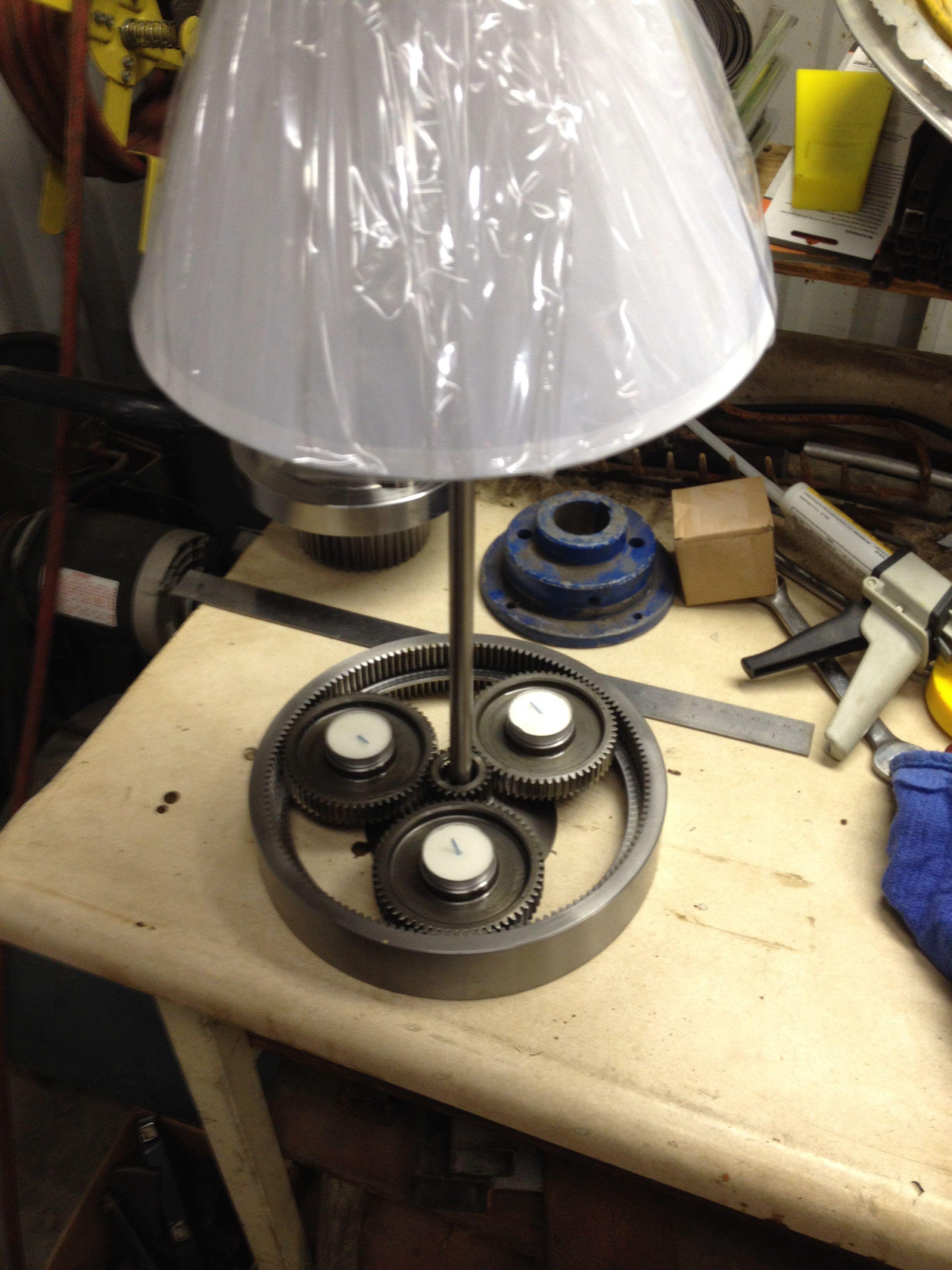 Gear lamp I made from repurposed gear box parts | gear clock | Gear