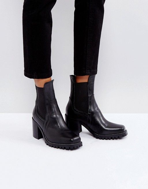 10aceedb67d River Island Cleated Sole Heeled Leather Boots