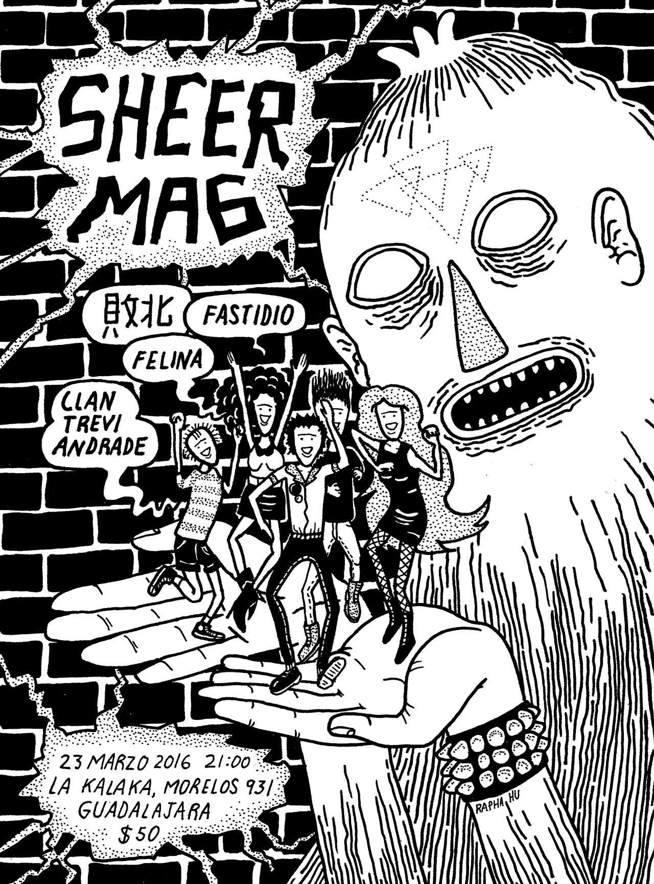 Cartel para el concierto de Sheer Mag en Guadalajara