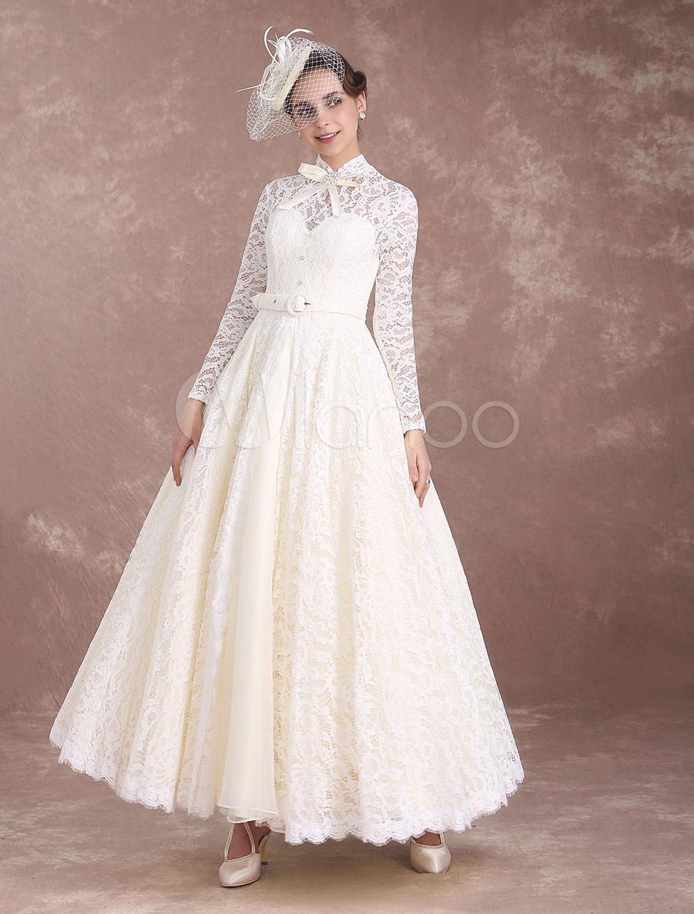 Vintage Brautkleid A-Linie- knöchellang mit Reißverschluss Spitze