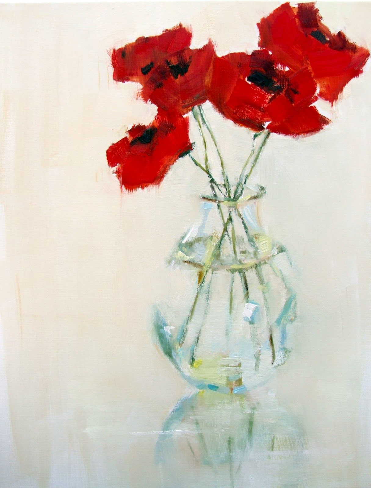 """""""Poppies in Glass"""" impressionistic painting 
