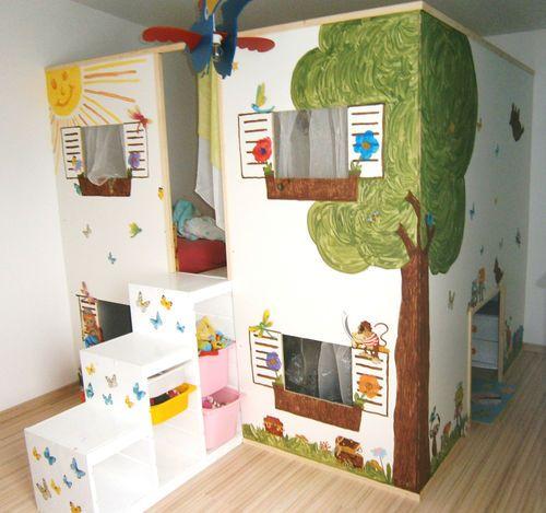 Bett, Hochbett, Hausbett, Spielhaus, Haus, 2 Betten