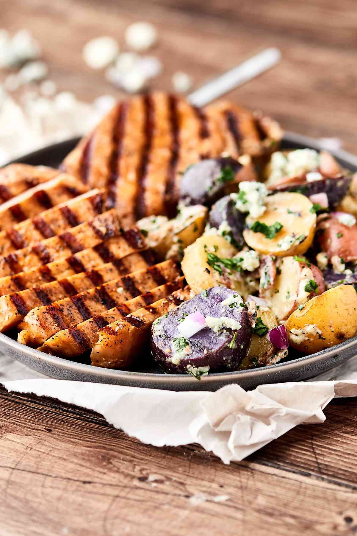 #Ad Grilled Potato Salad With Hickory Smoked Brown Sugar Pork