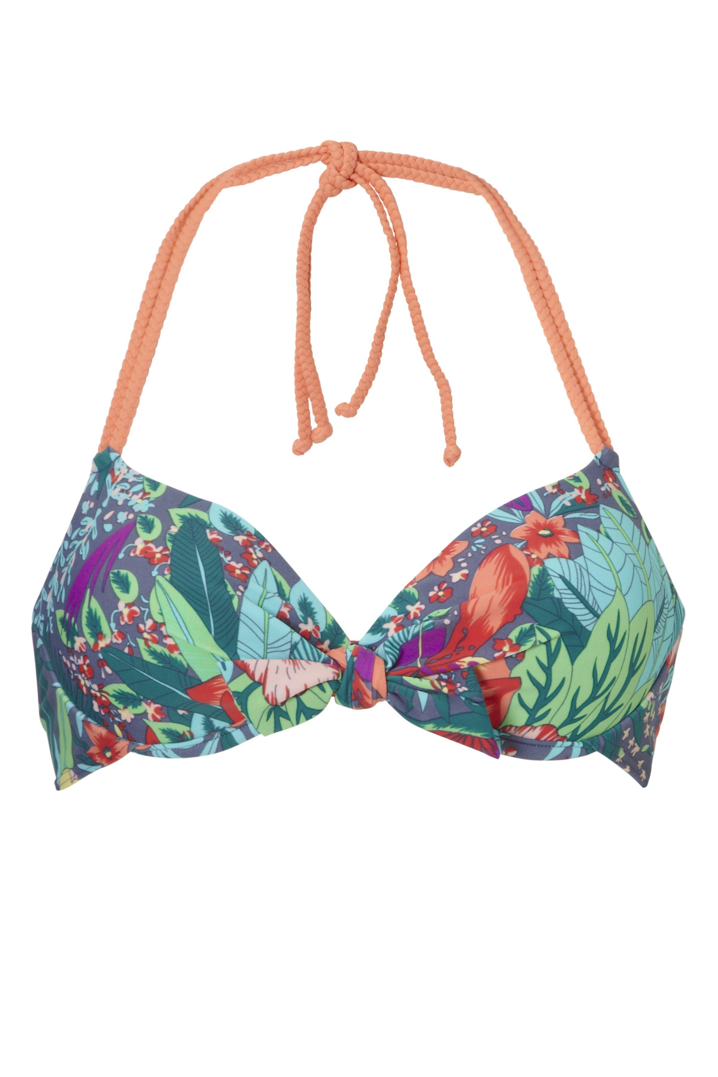 9c77d07744e395 Mix & match voorgevormde beugel bikini top van Livera in een vrolijke  jungle print. De