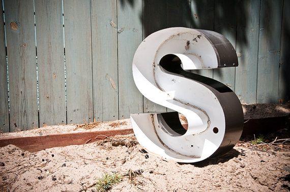 Large Vintage Metal Sign Letter Capital S $49.99 Etsy.