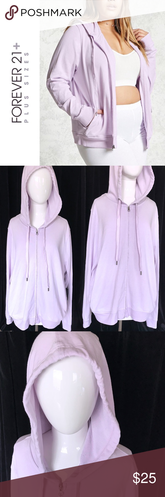73400a06cc0 PLUS SIZE lavender zip up hoodie 💜 a french terry knit hoodie featuring a  drawstring hood with accenting grommets